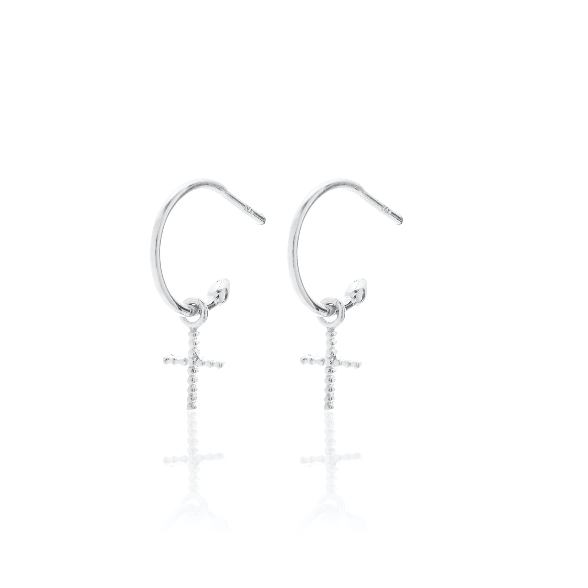 Silk & Steel Jewellery Superfine Cross Earrings Silver