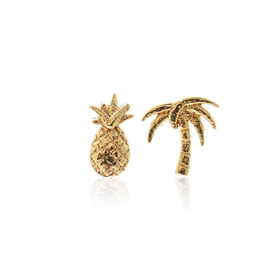 Silk & Steel Jewellery Superfine Pina Colada Pineapple and Palm Tree stud earrings gold