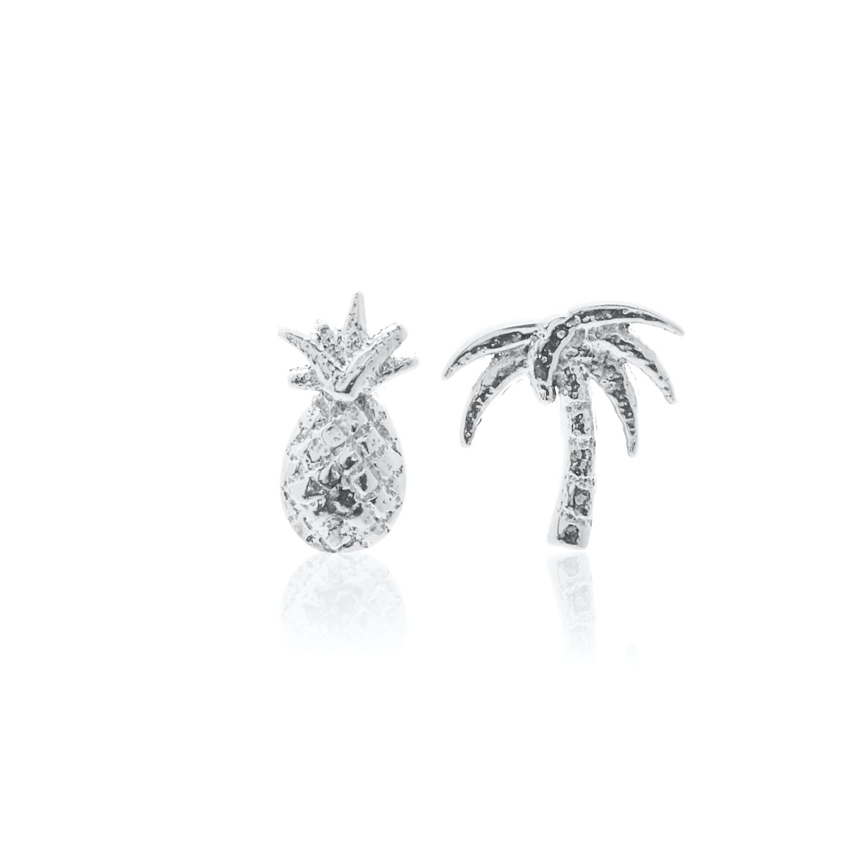 Silk & Steel Jewellery Superfine Pina Colada Pineapple and Palm Tree stud earrings Silver