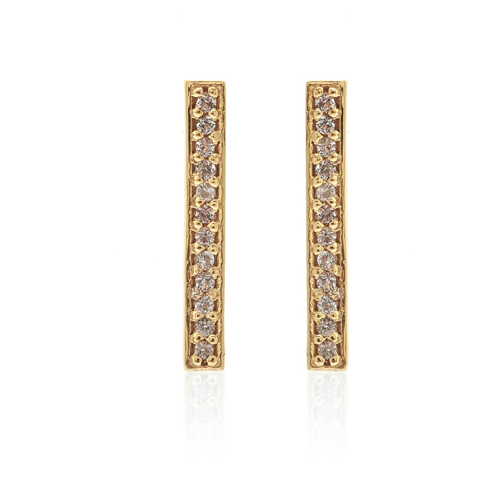 Silk & Steel Jewellery Superfine Bar Ear Climber Gold and White Topaz
