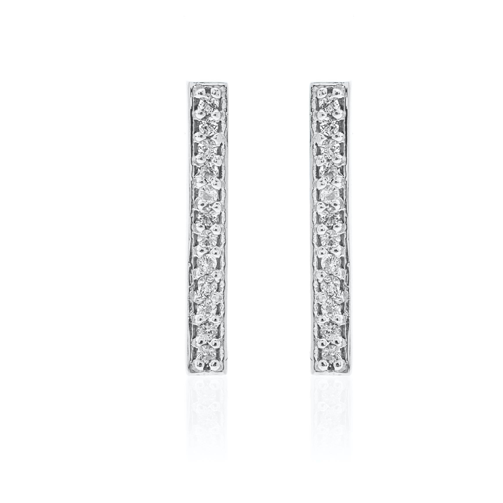 Silk & Steel Jewellery Superfine Bar Ear Climber Silver and White Topaz