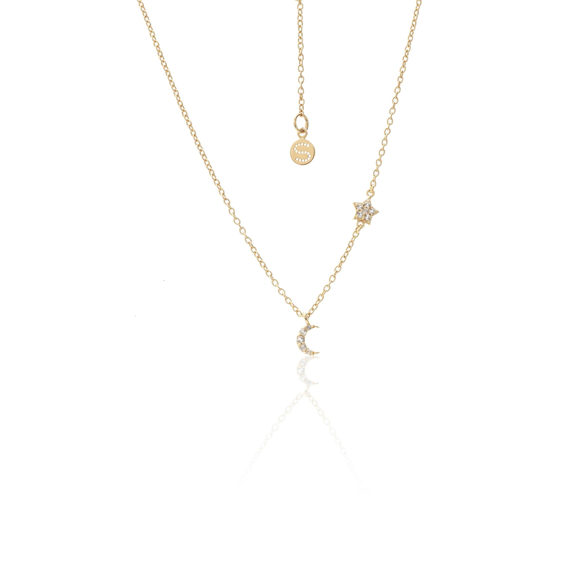 Silk & Steel Jewellery Superfine Celestial Star and Moon necklace white topaz gold