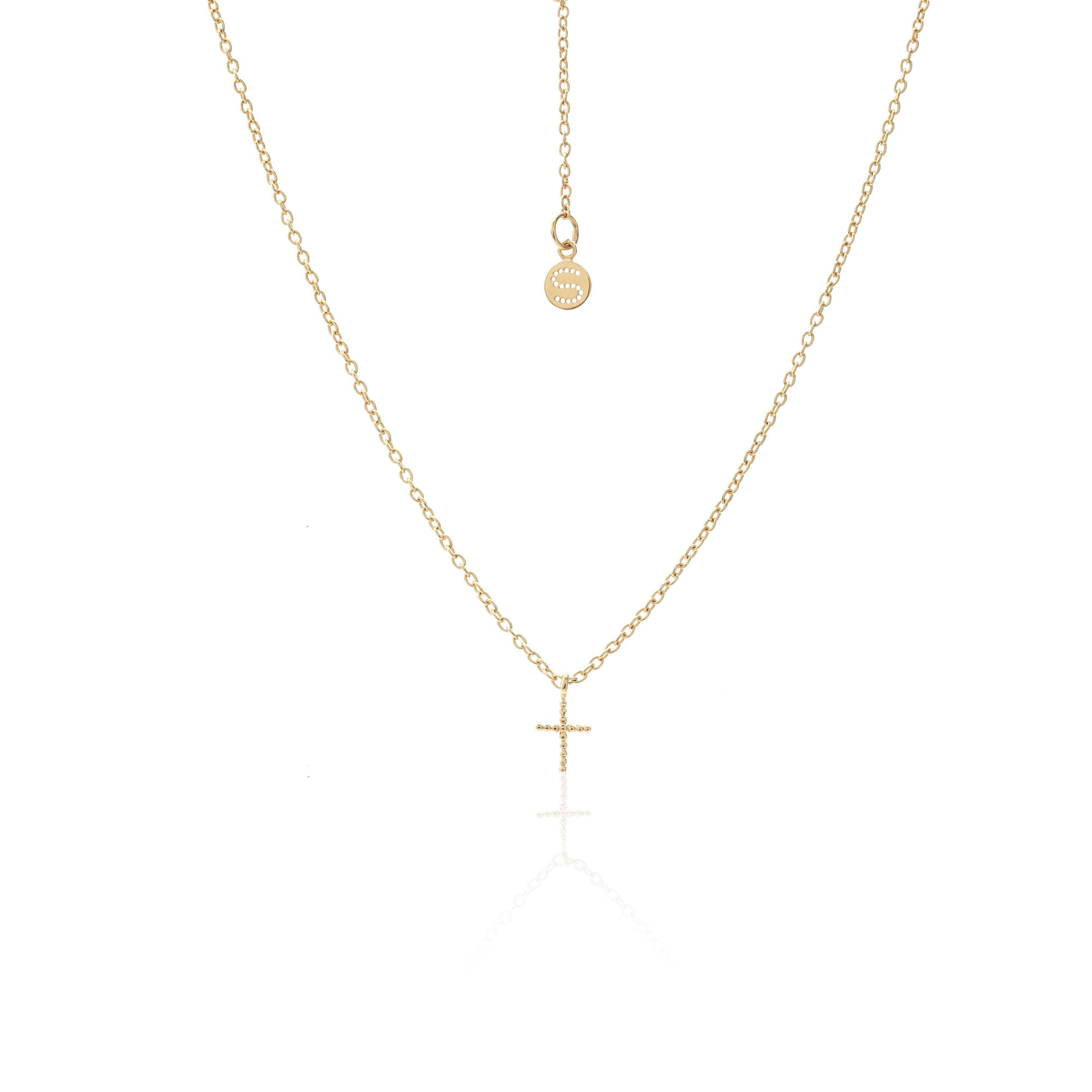Silk & Steel Jewellery Superfine Cross Necklace Gold