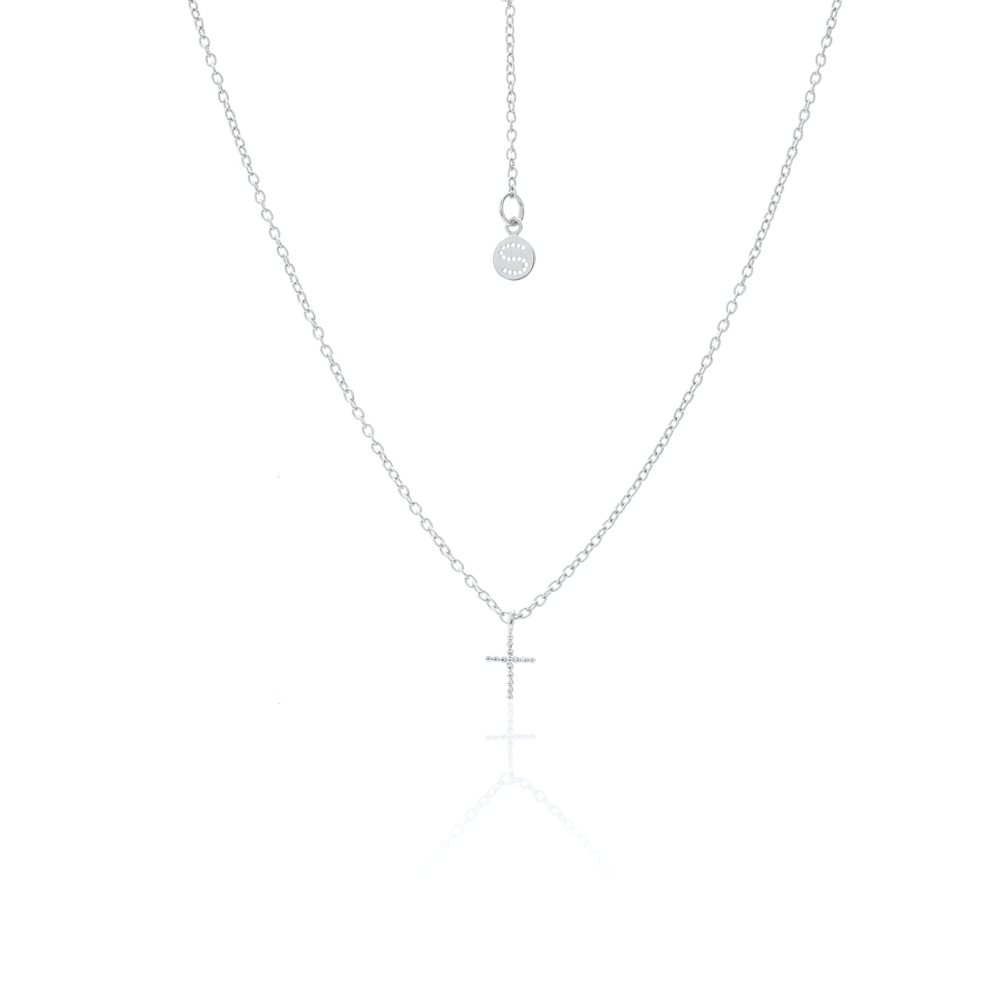 Silk & Steel Jewellery Superfine Cross Necklace Silver