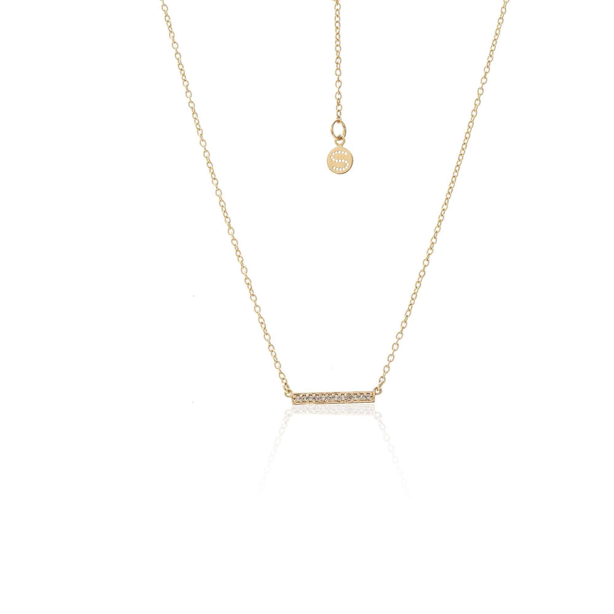 Silk & Steel Superfine Bar Necklace White Topaz Gold