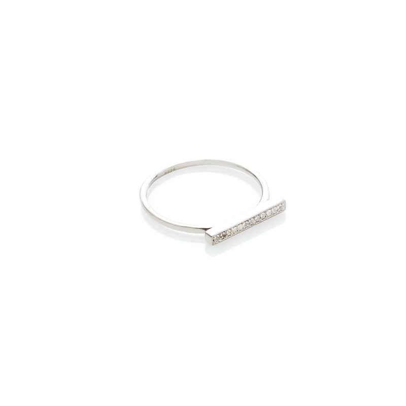Silk & Steel Jewellery Superfine Bar Ring White Topaz Silver