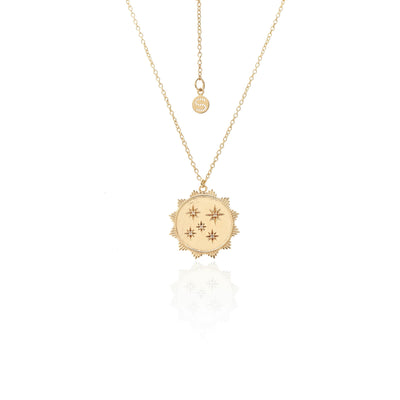 Silk & Steel Talisman Stars of Dreams Necklace Gold White Topaz