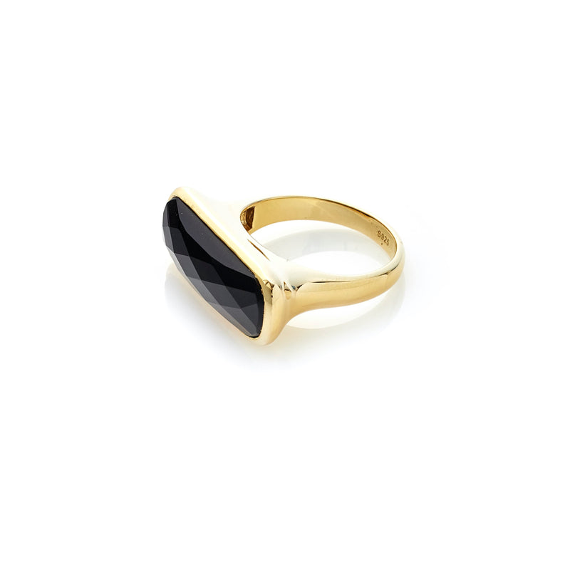 Silk & Steel Jewelley Grace Ring Black Onyx Gold