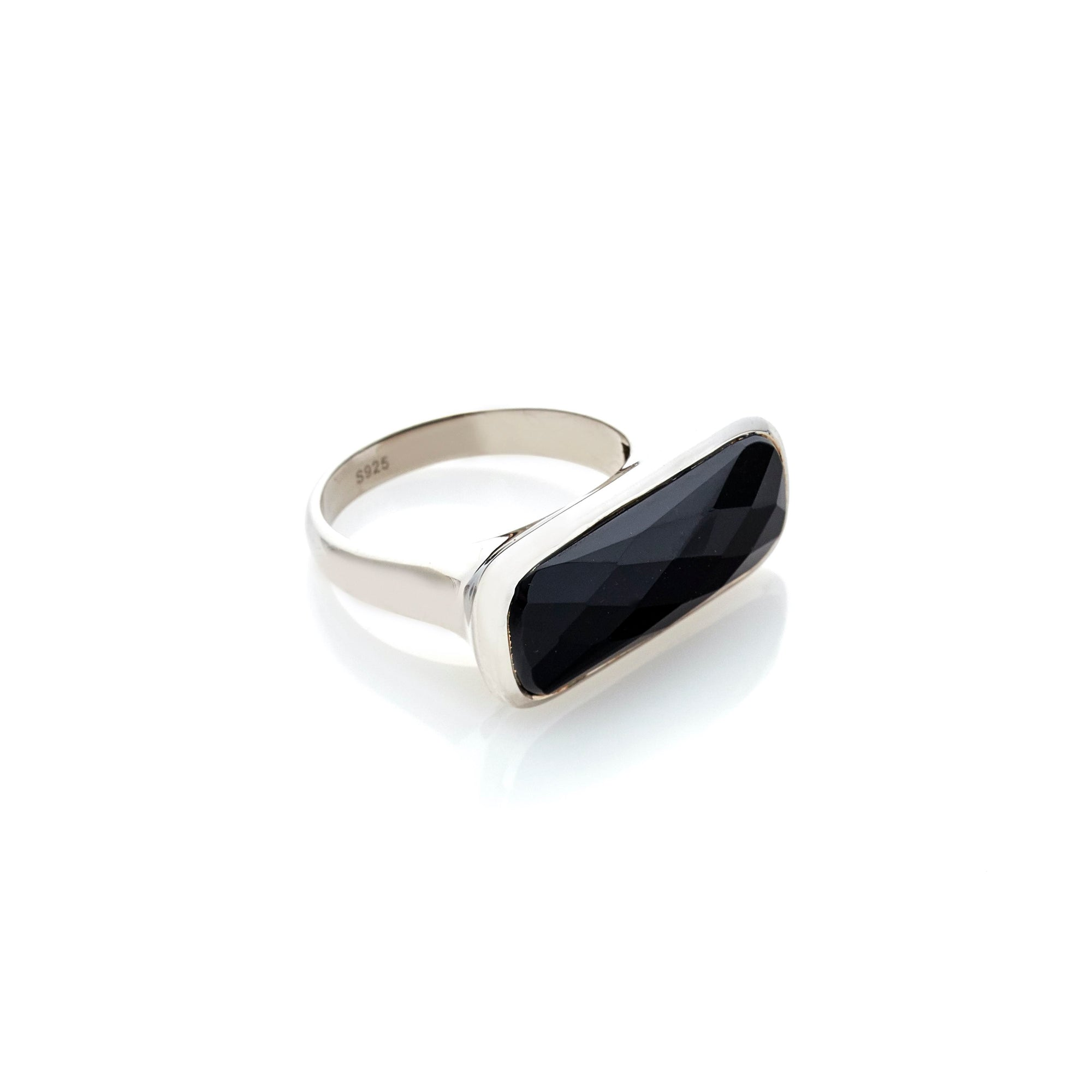 Silk & Steel Jewelley Grace Ring Black Onyx Silver