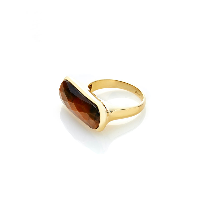 Silk & Steel Jewelley Grace Ring Tiger Eye Gold