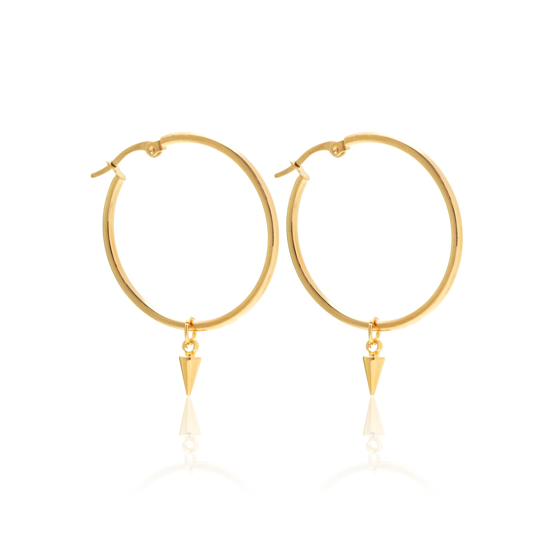 Silk & Steel All The Way Hoop and Spike earrings gold