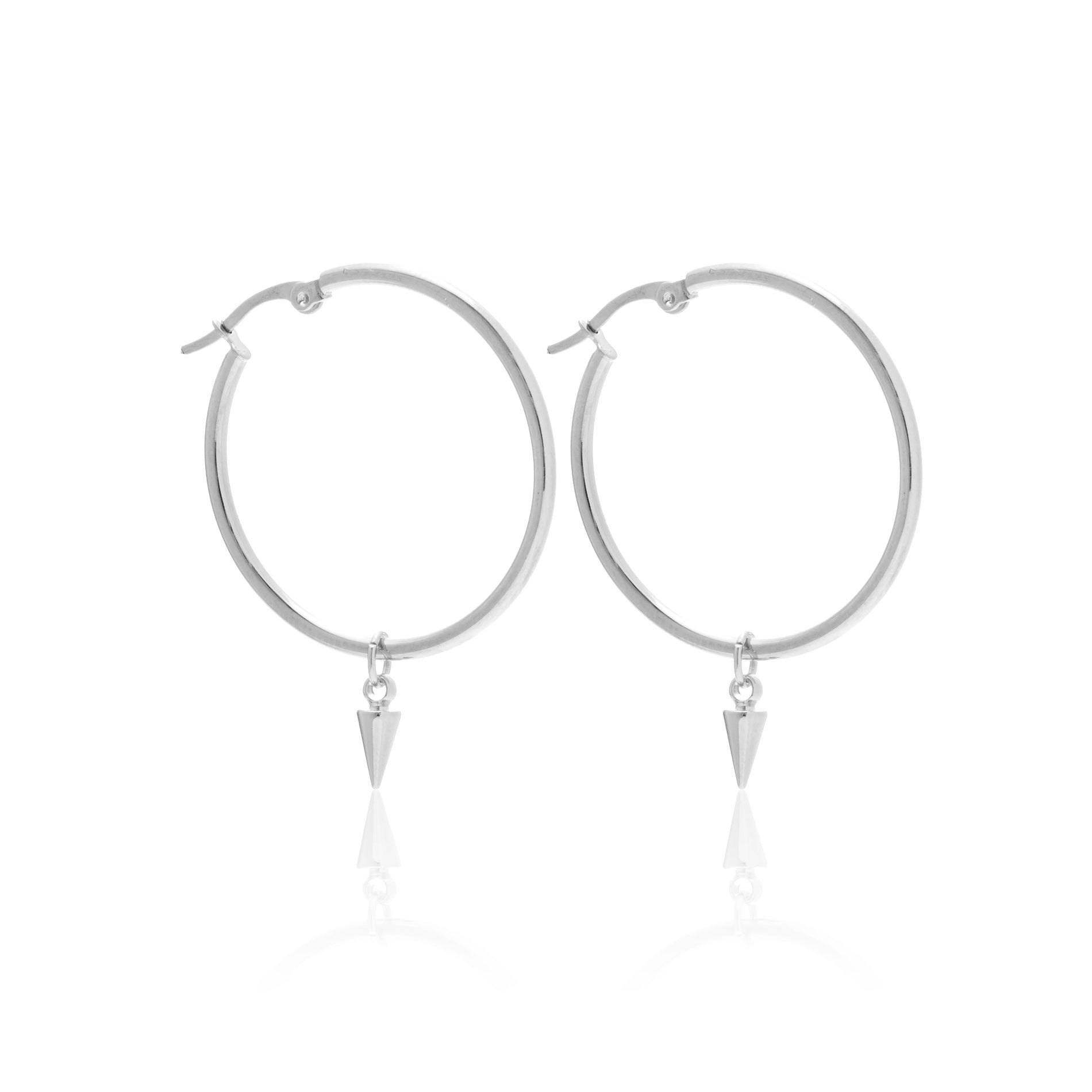 Silk & Steel All The Way Hoop and Spike earrings silver