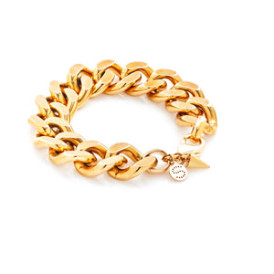 xSilk & Steel Dynasty large statement curb chain bracelet gold stainless steel