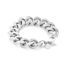 Silk & Steel Dynasty large statement curb chain bracelet silver stainless steel