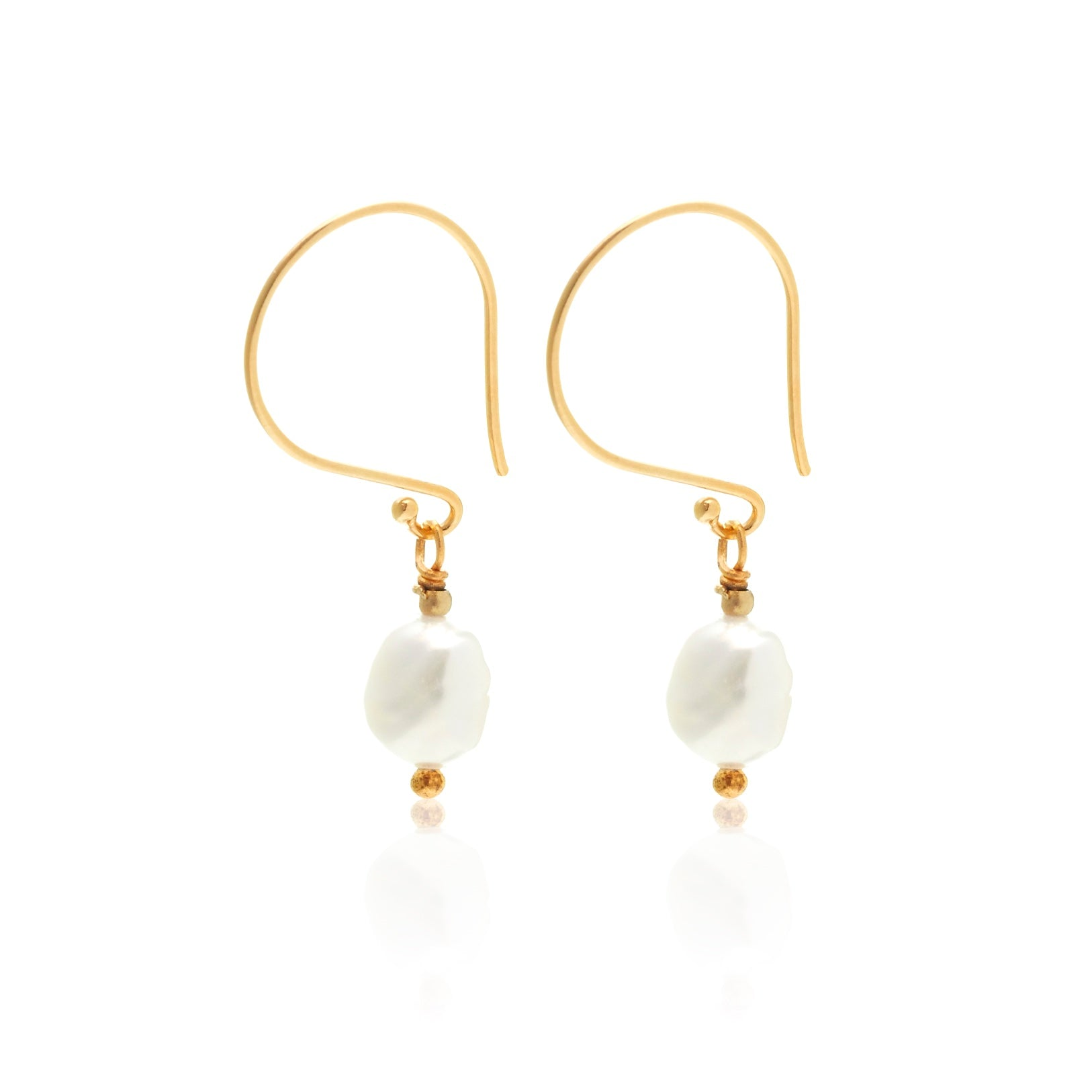 Silk &S Steel Baroque n Roll Pearl drop earrings gold