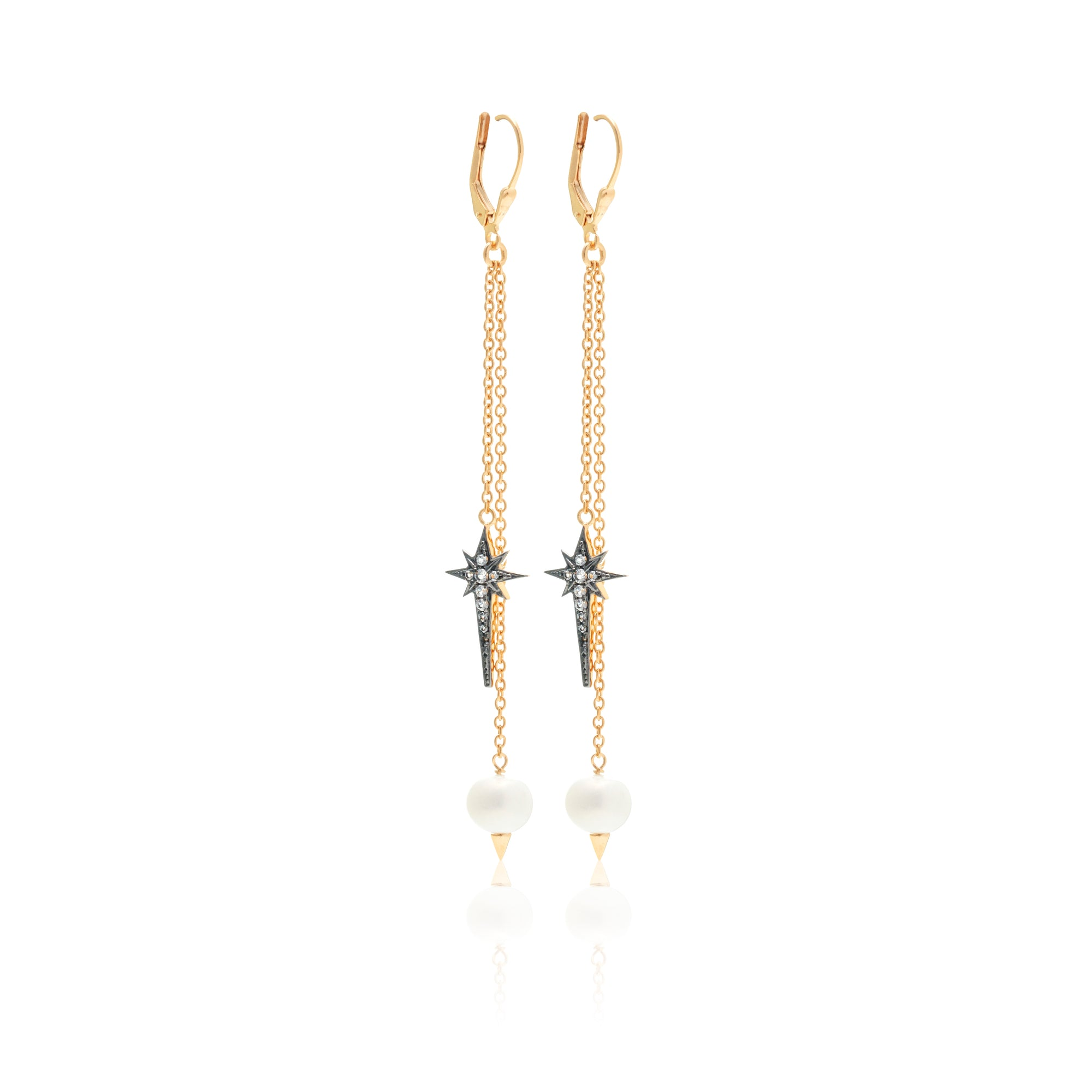 Silk & Steel Living The Dream earrings gold and pearl