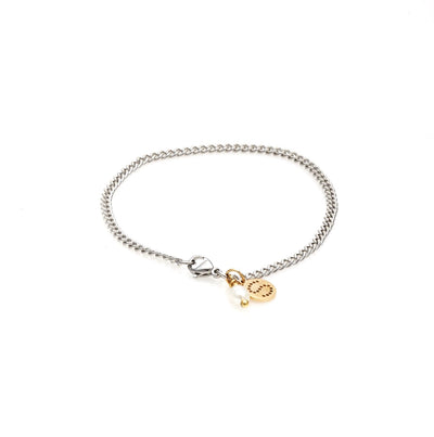Silk & Steel Jewellery Perfect Partner stainless steel curb chain bracelet with pearl