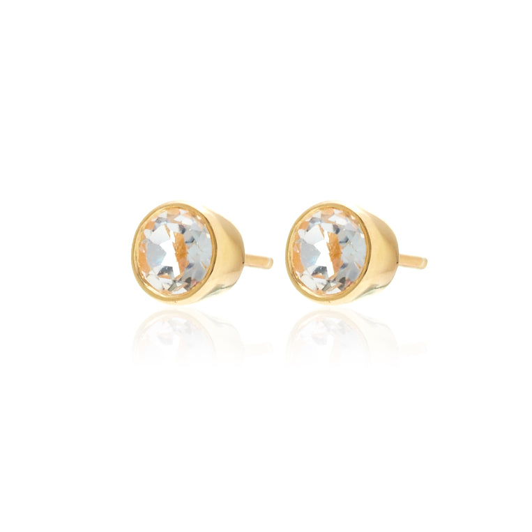 Silk & Steel Jewellery White Topaz and Gold Pistil Stud Earrings