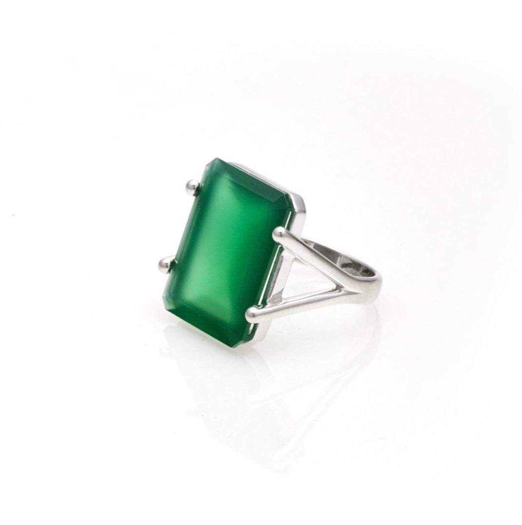 Prima Donna / Green Onyx + Silver / Ring
