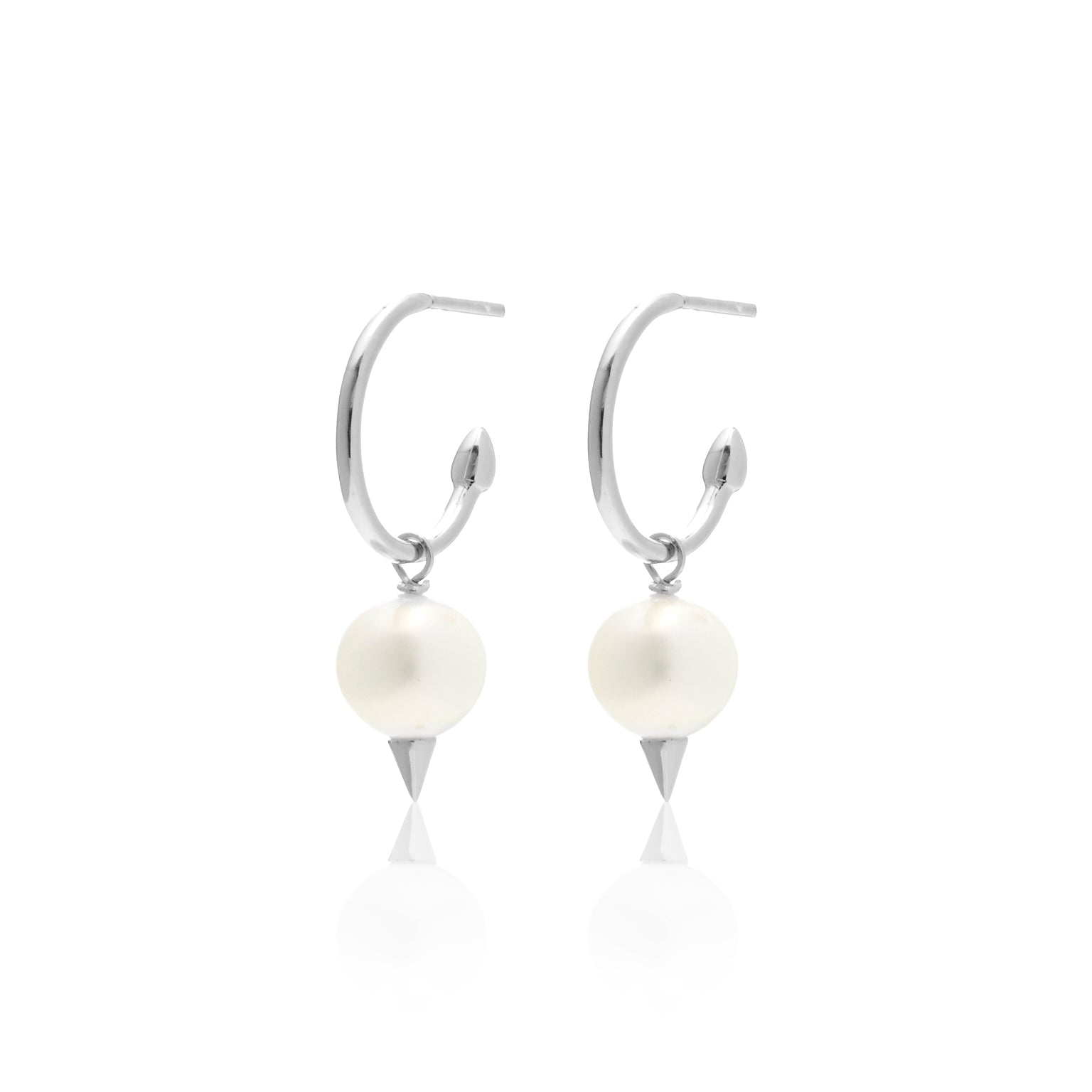 Silk & Steel Revel Earrings Pearl with Spike + Silver