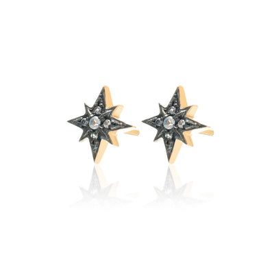 Silk & Steel Rising Star Stud earrings gold white topaz