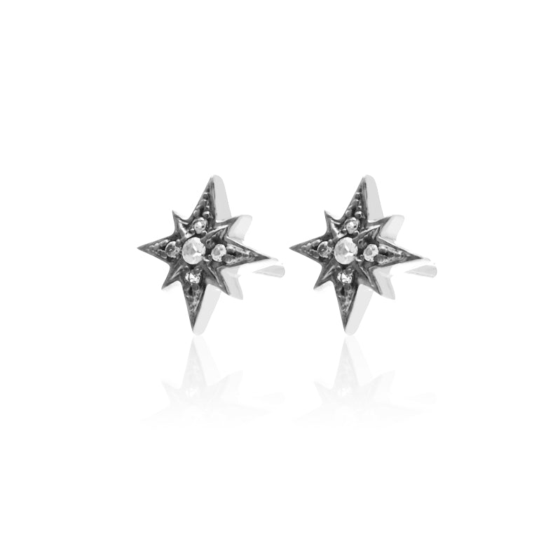 Silk & Steel Rising Star Stud earrings silver white topaz
