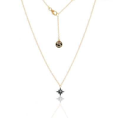 Silk & Steel Rising Star necklace gold white topaz