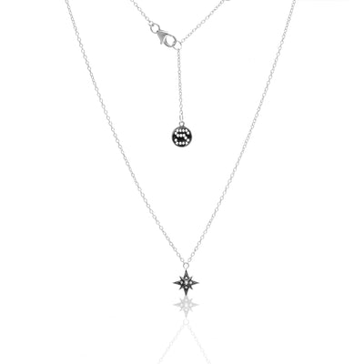 Silk & Steel Rising Star necklace silver white topaz