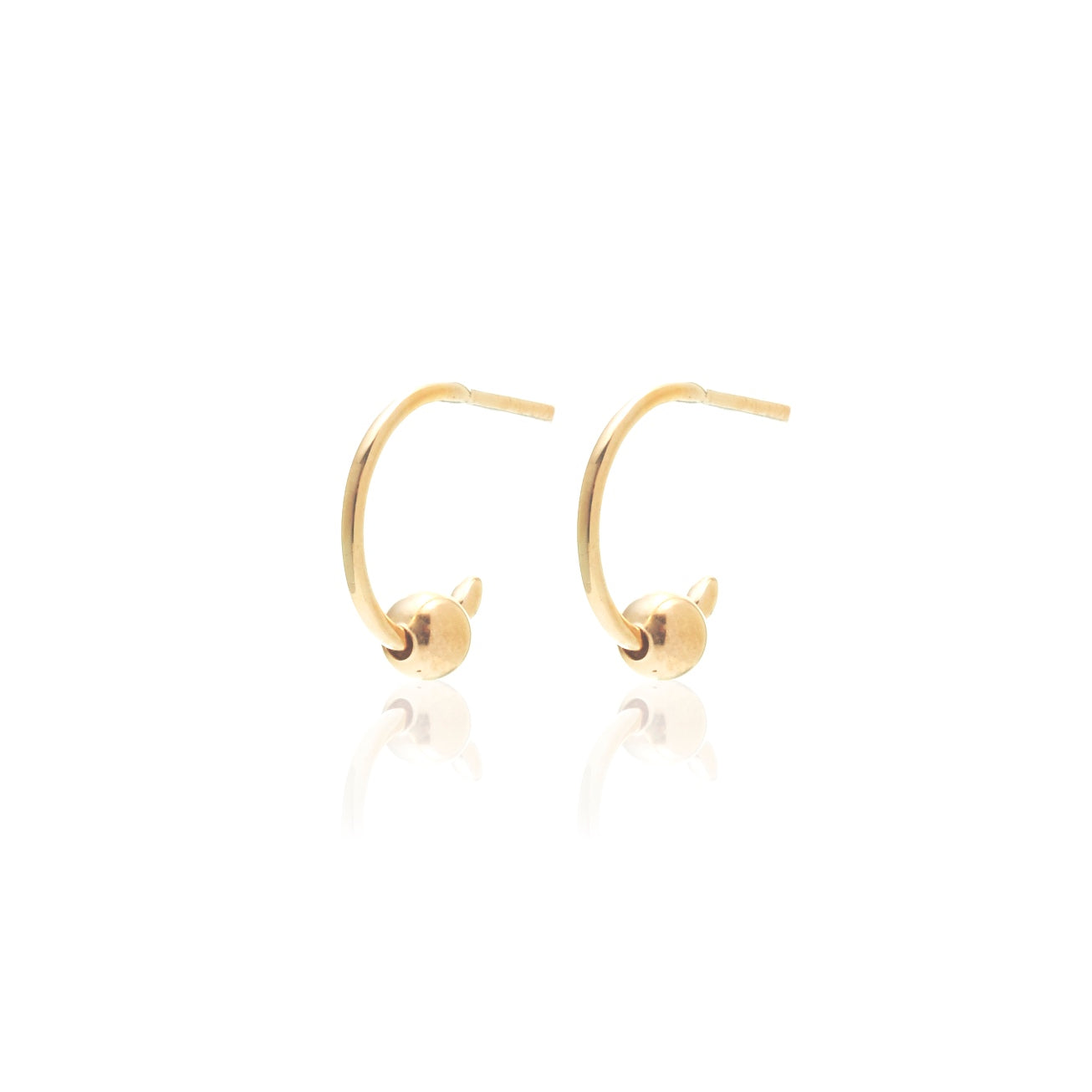 Silk & Steel Mini Ball Hoops Gold