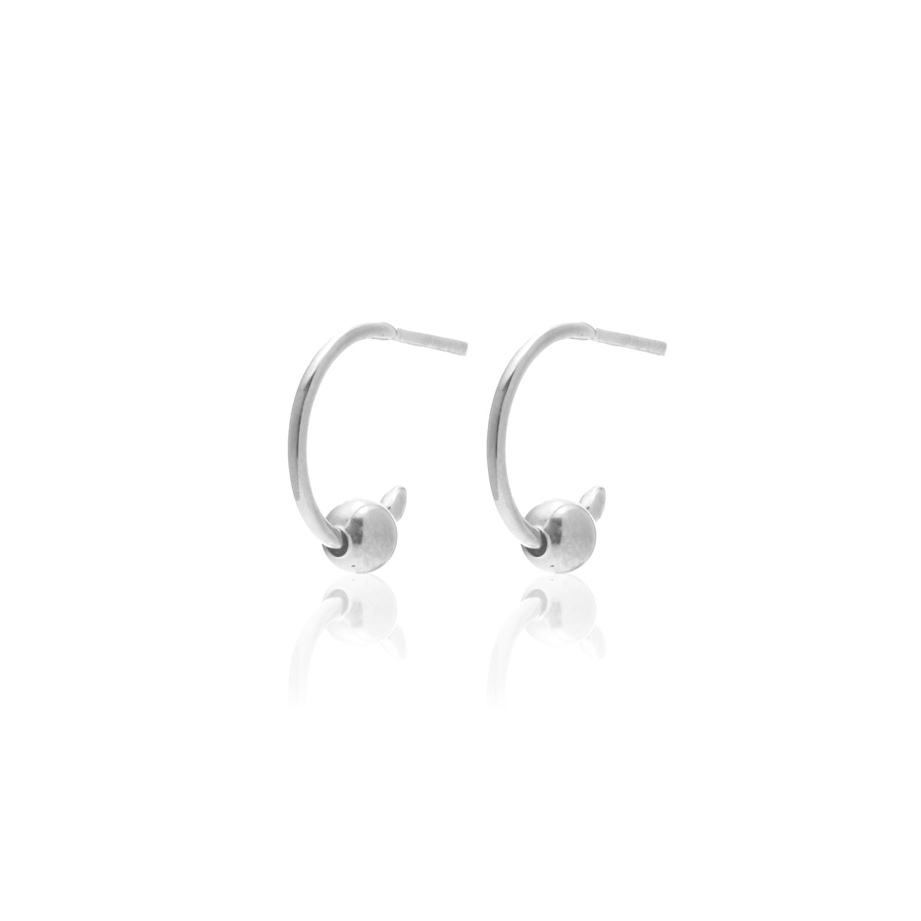 Silk & Steel Mini Ball Hoops Silver