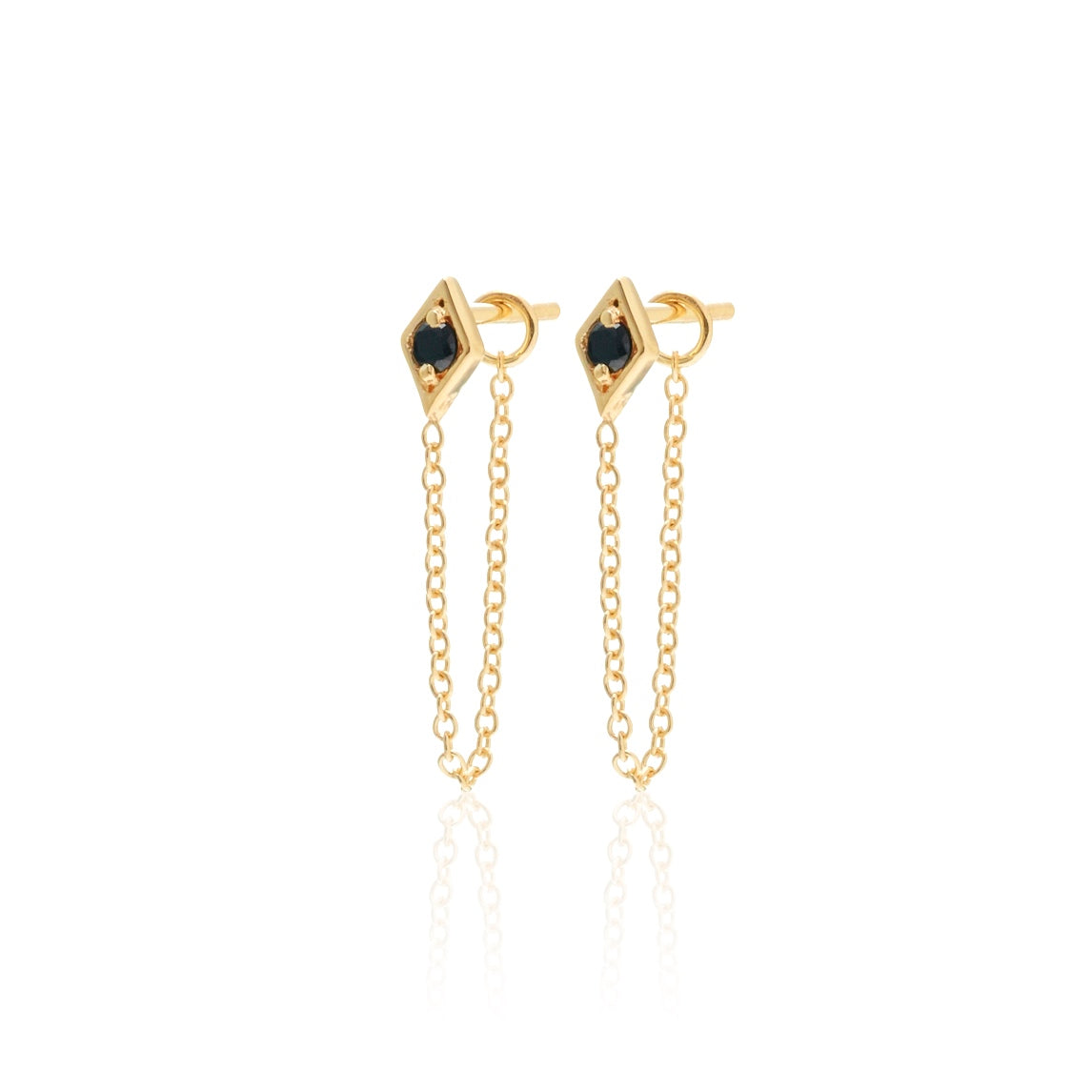 Silk & Steel Superfine Gold Black Spinel Connected Chain Earrings
