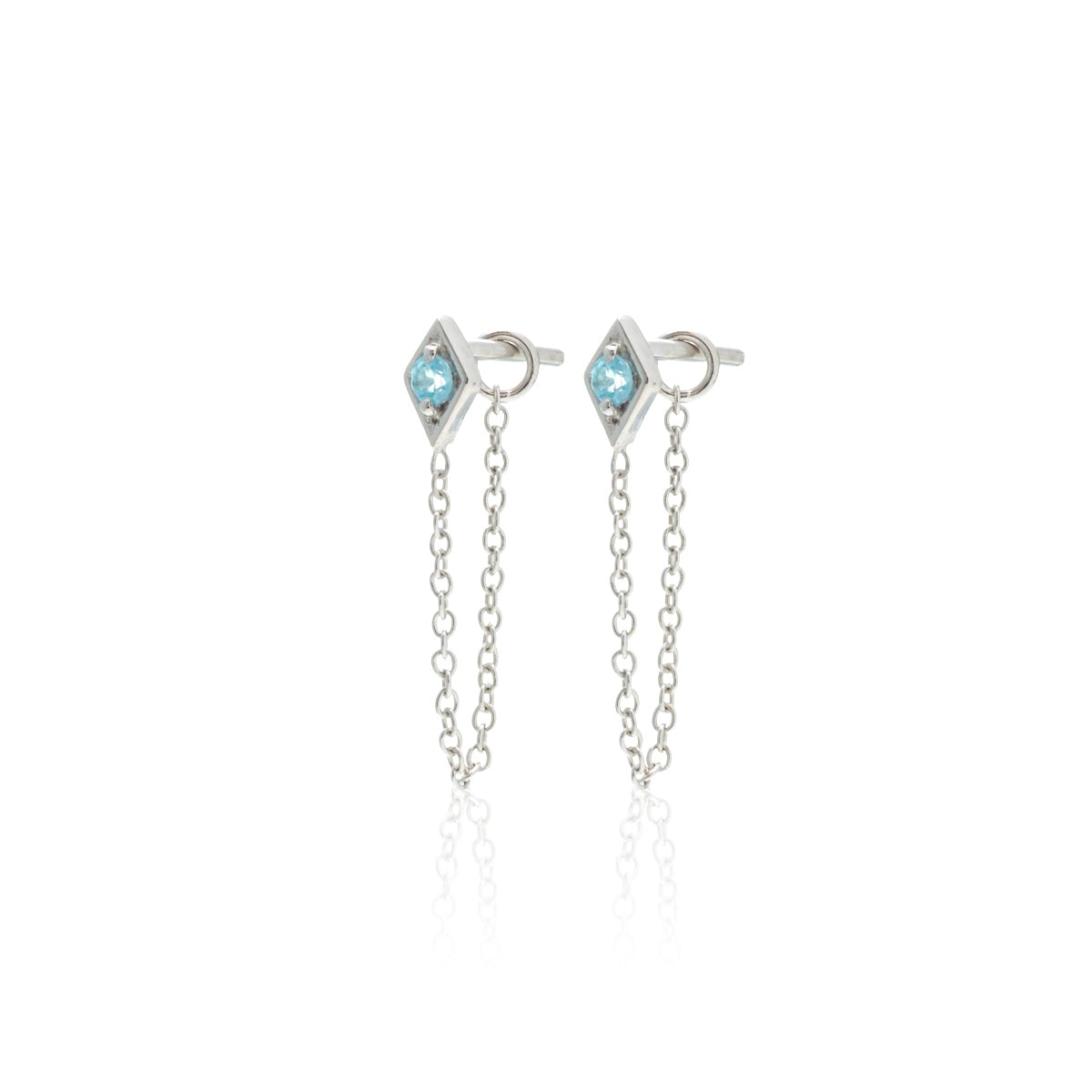 Silk & Steel Keepsake Connected Earrings Blue Topaz Silver