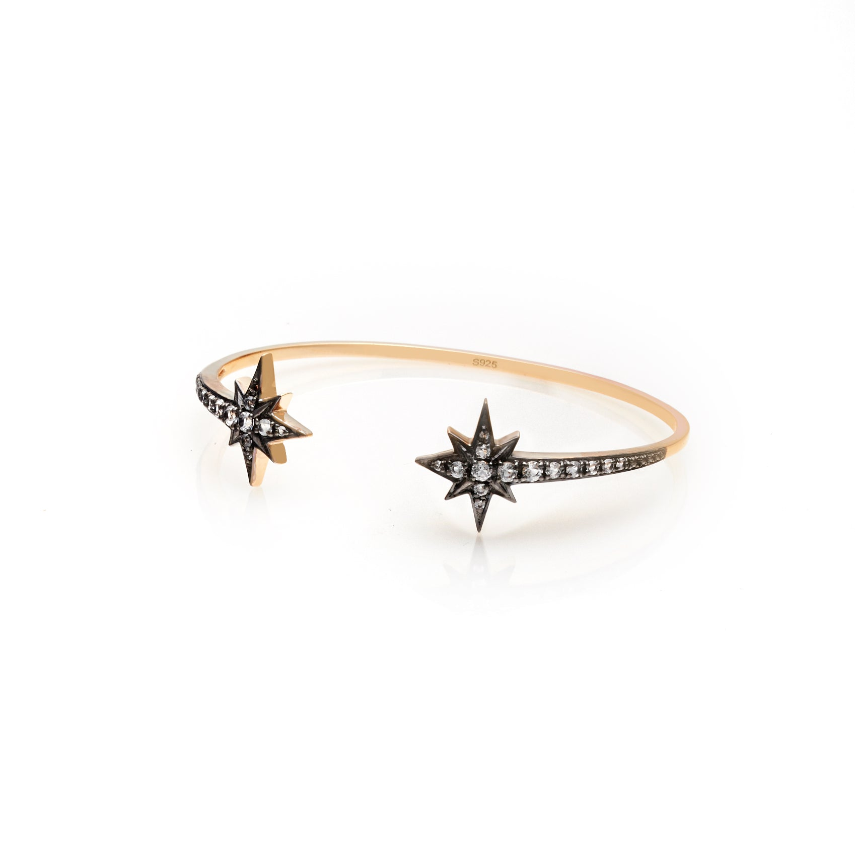 Silk & Steel Jewellery Superstar cuff White Topaz Gold