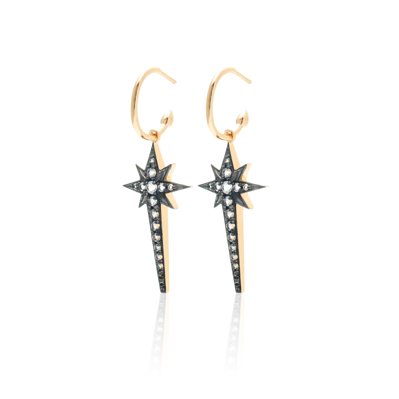 Silk & Steel Superstar earrings Gold white topaz