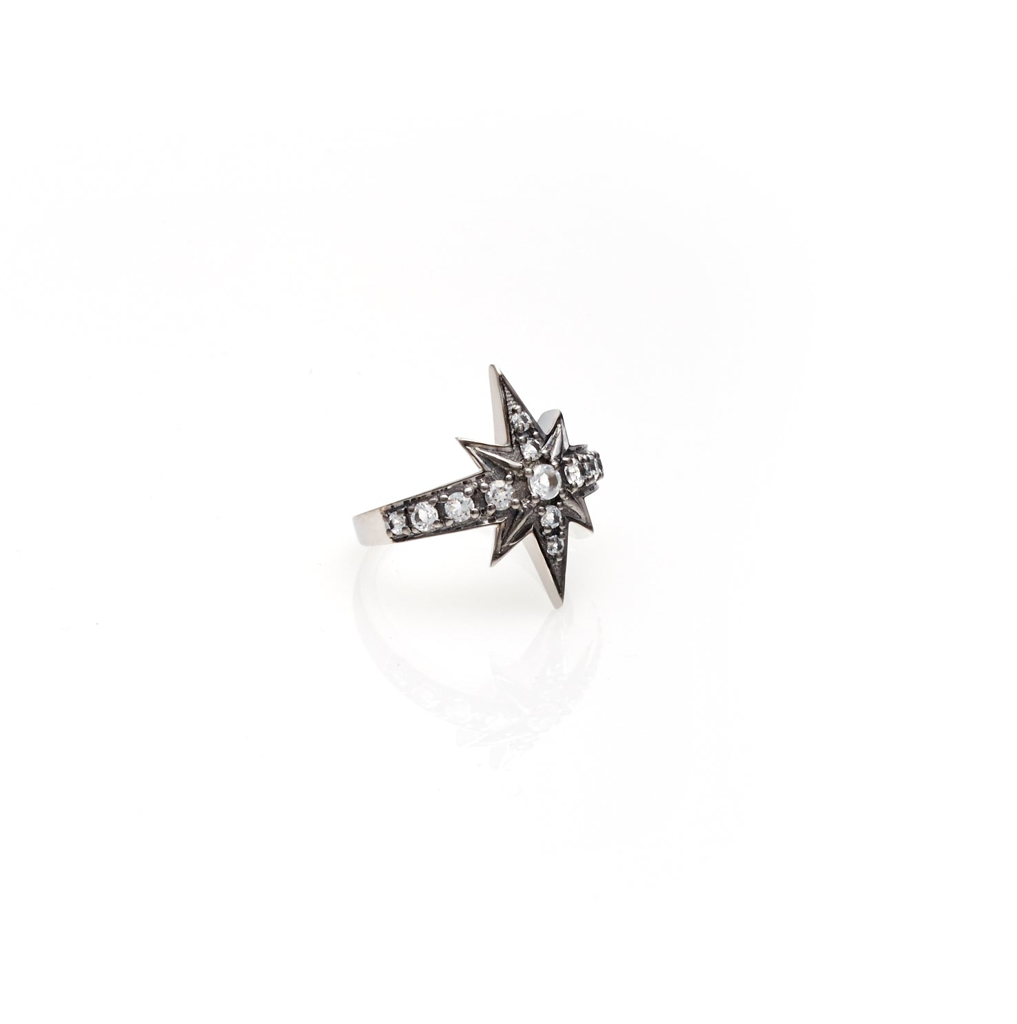 Silk & Steel Jewellery Superstar White Topaz Silver ring