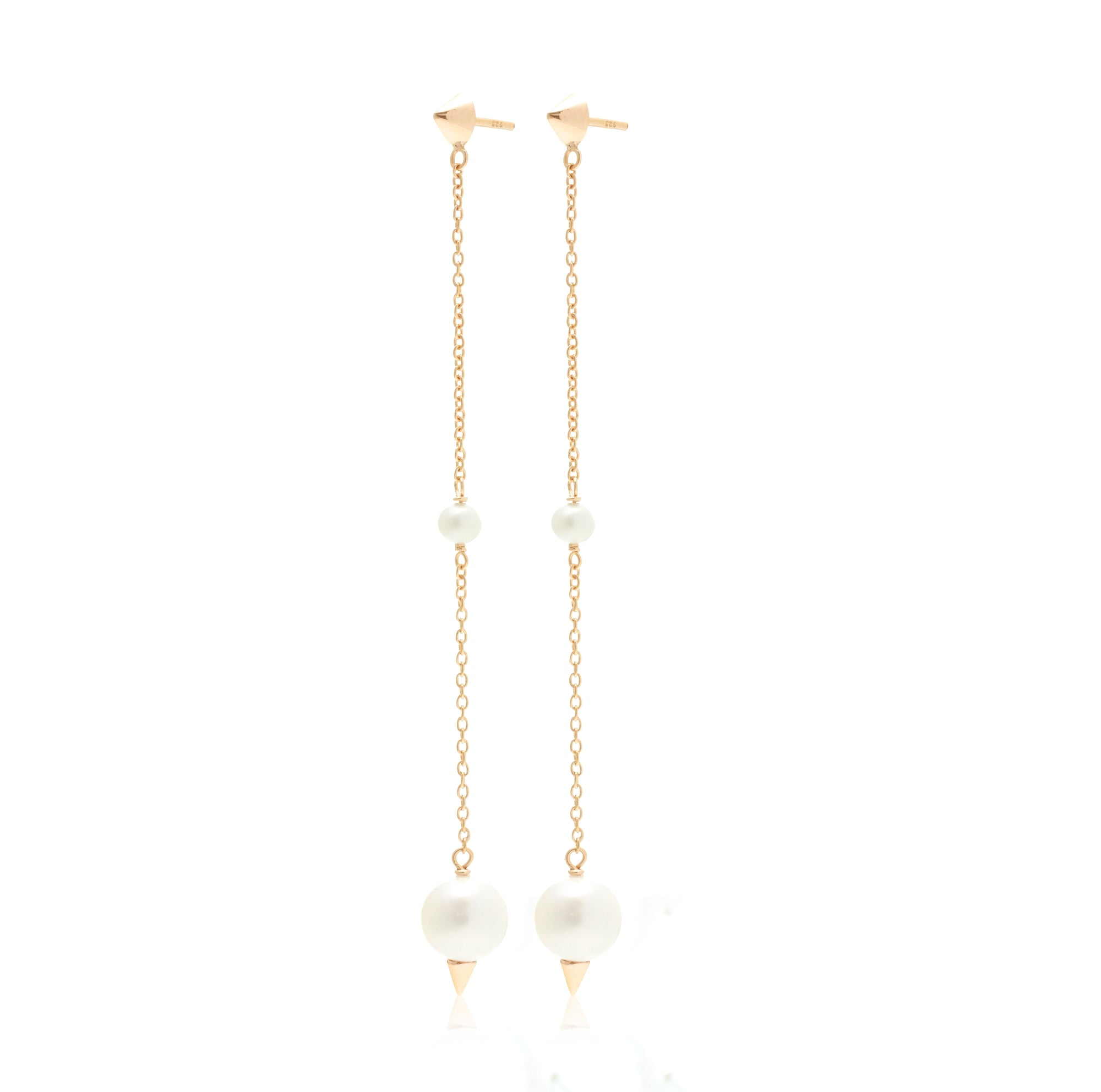 Silk & Steel Jewellery The Unexpected Pearl and Spike Gold  earrings