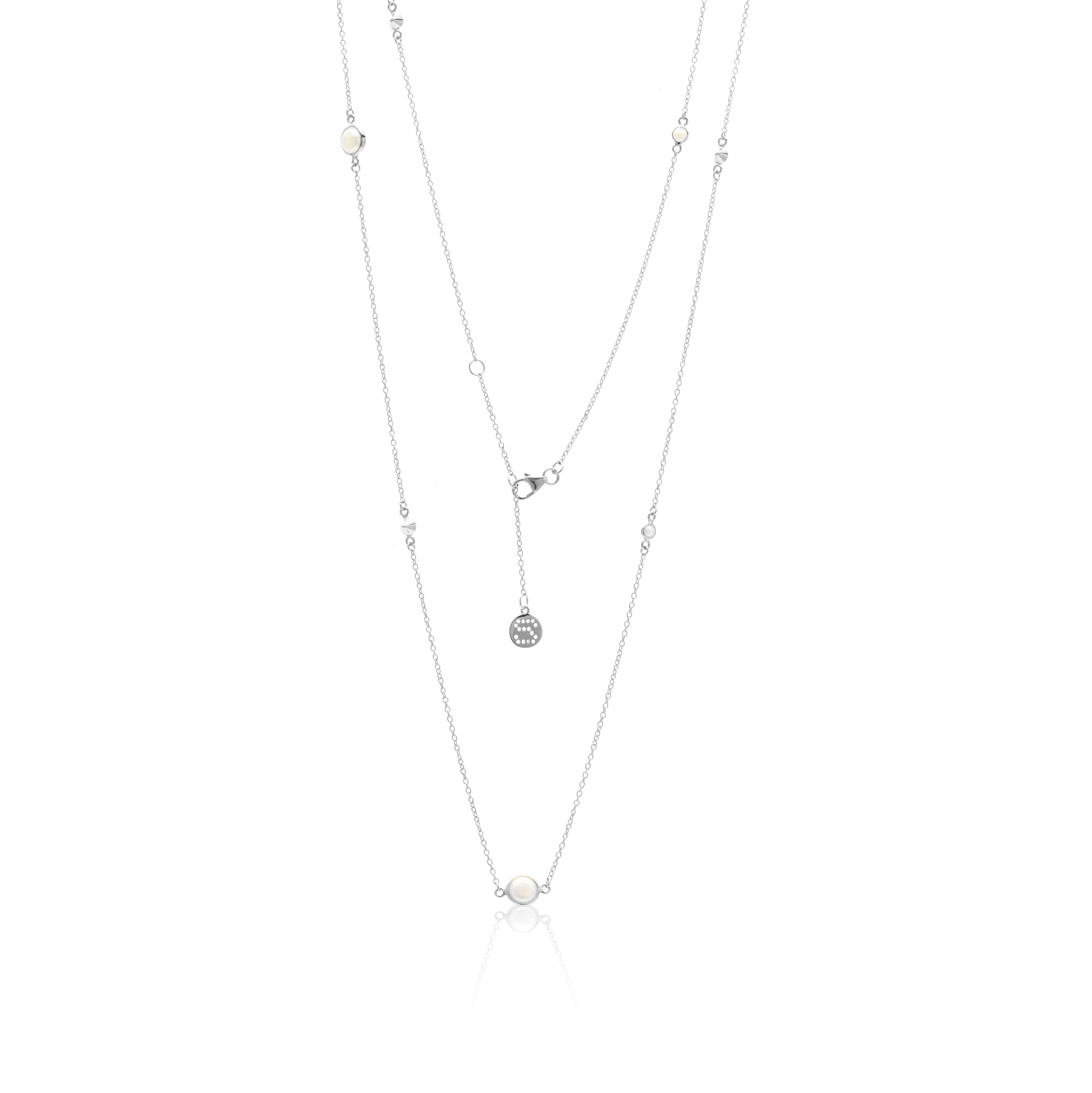 The Unexpected Long / Pearl + Silver / Necklace