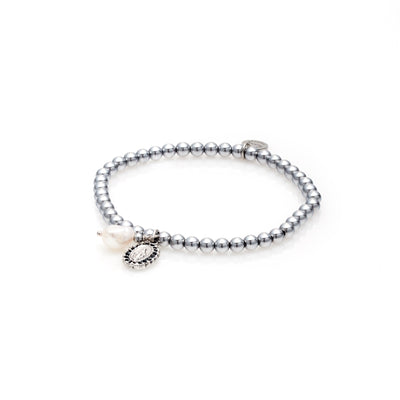Silk & Steel Jewellery Together Forever Saint and Pearl bracelet silver