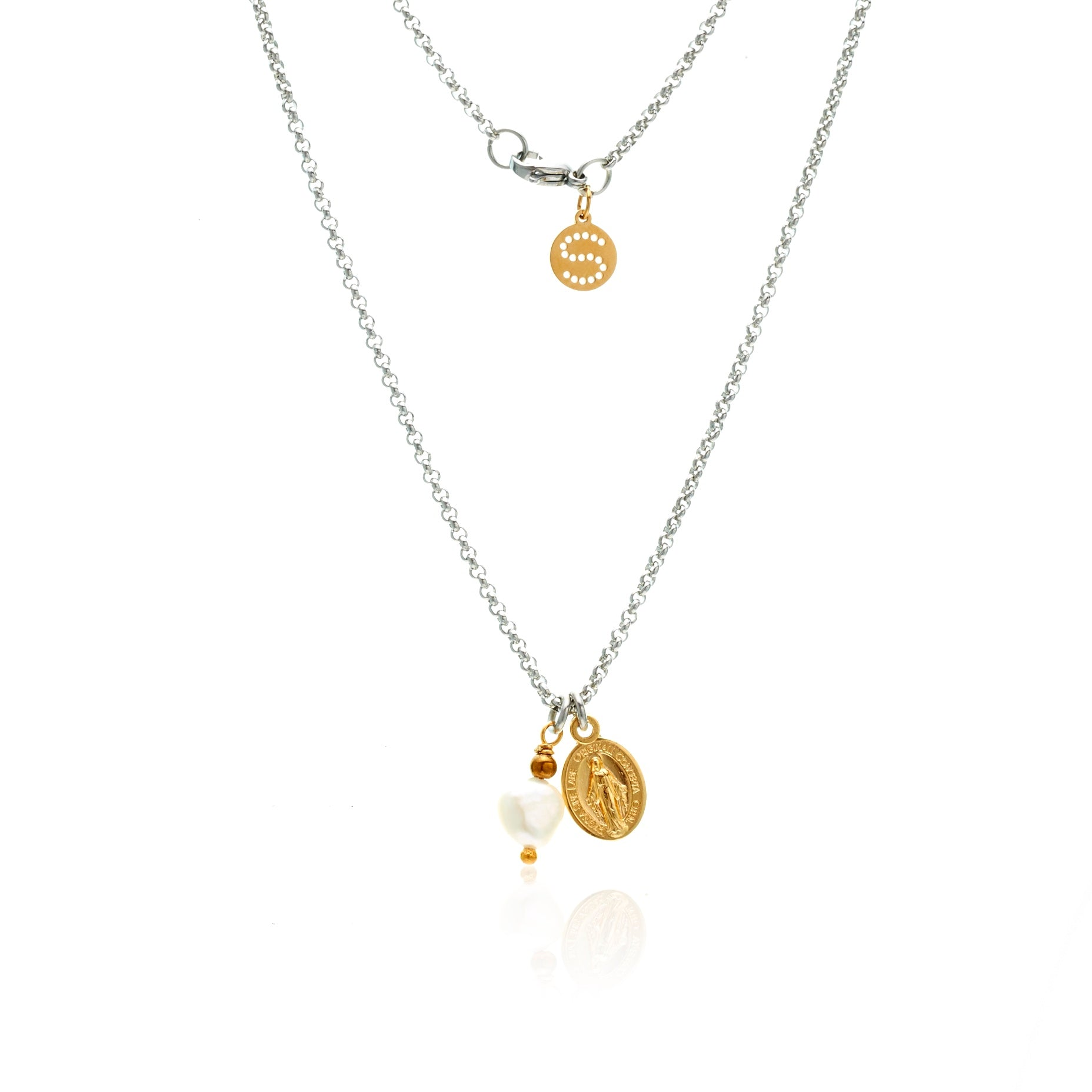 Silk & Steel Jewellery Together Forever Necklace with saint charm and pearl pendant