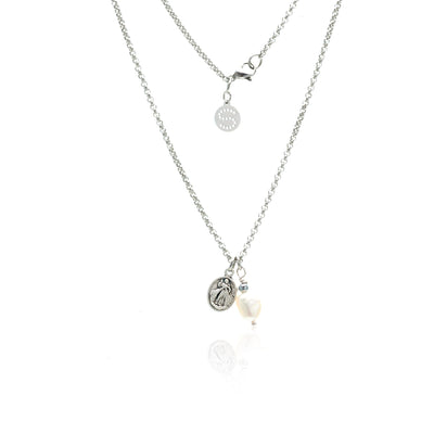 Silk & Steel Jewellery Together Forever Baroque Pearl and Saint Charm necklace