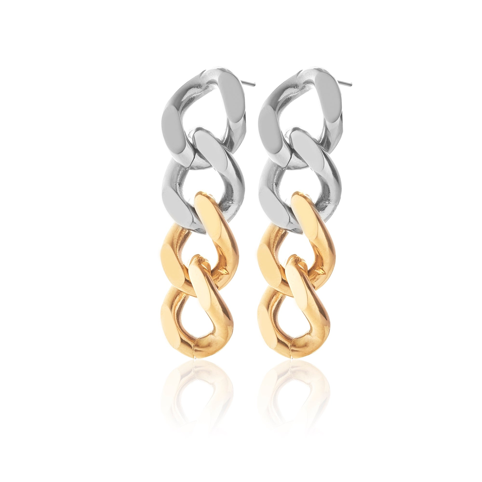 Silk & Steel x Storm Collab Two Tone Curb Chain Earrings