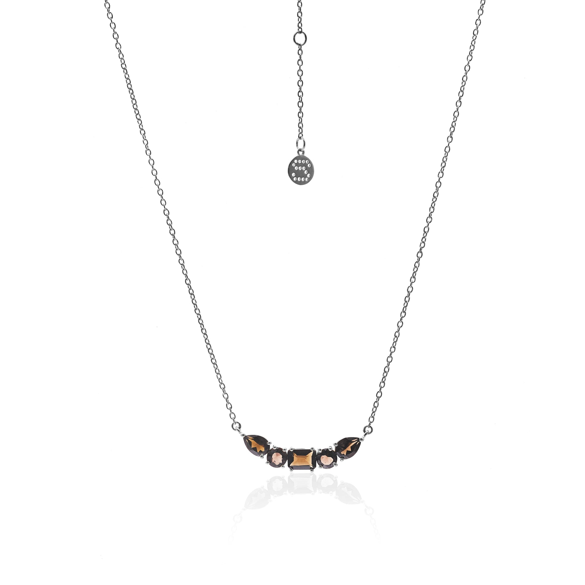 Silk&Steel Jewellery Smokey Quartz and Silver Amore Necklace From Aria Collection