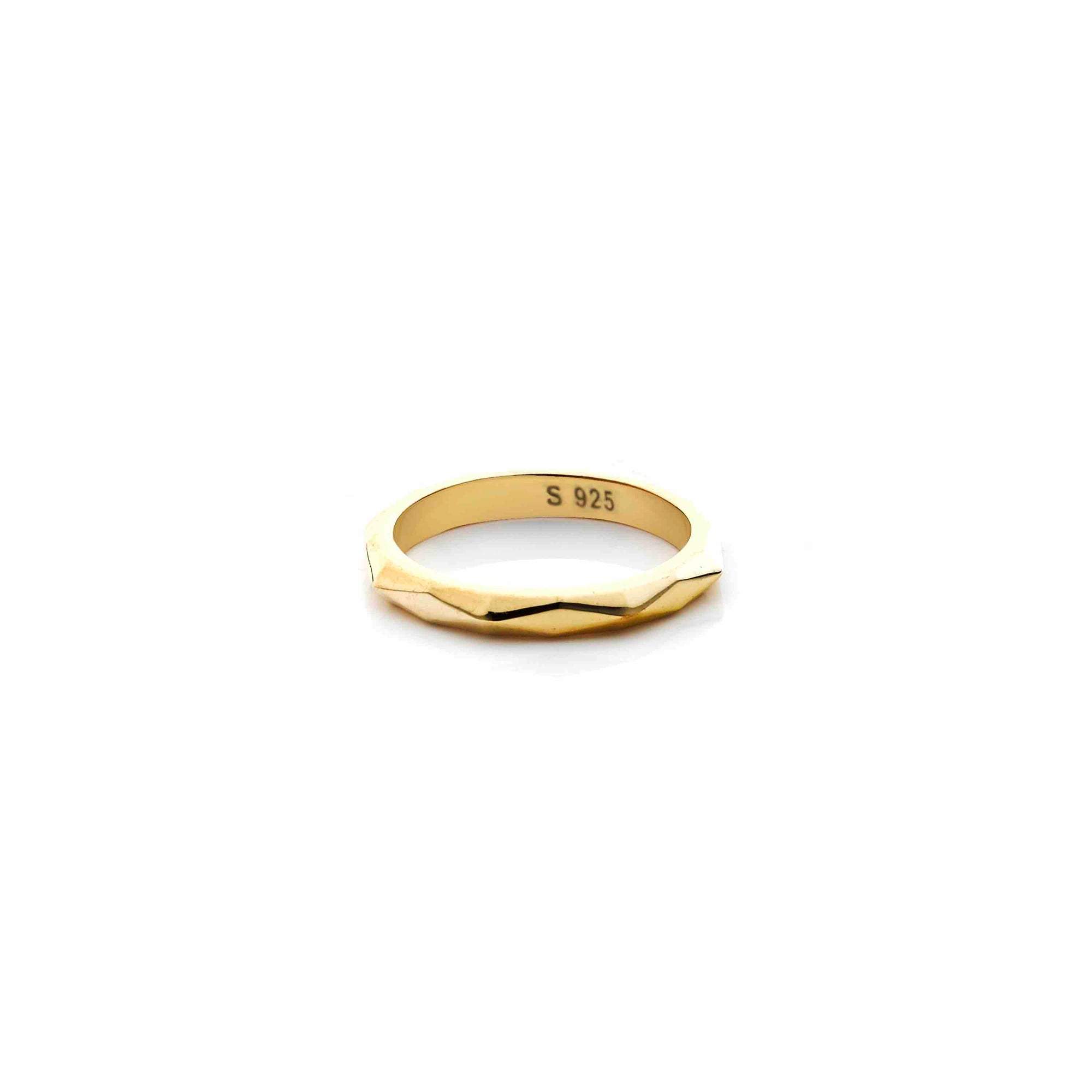 Silk & Steel Jewellery Diamond Cut Gold Ring