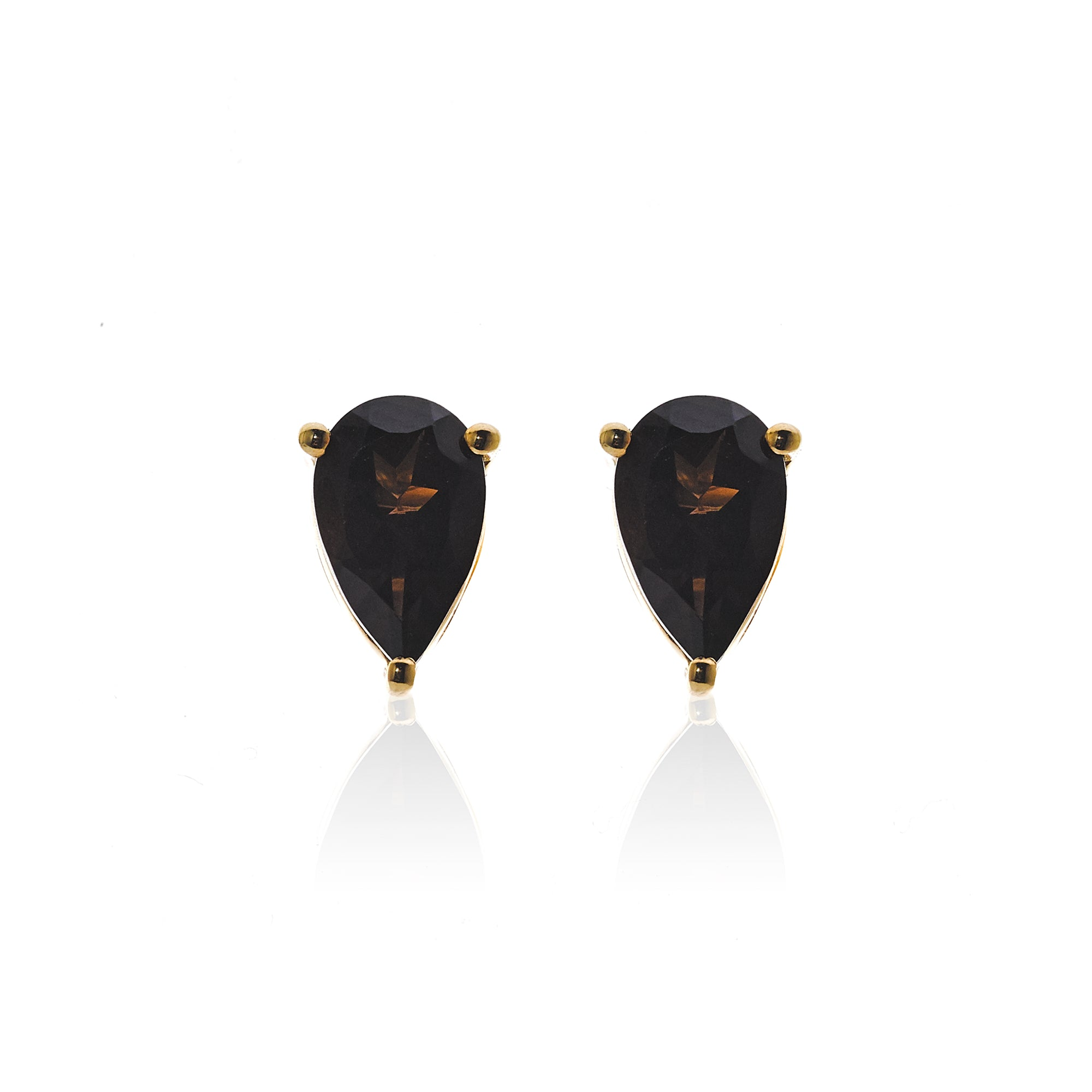 Silk&Steel Jewellery Diva Earrings Smokey Quartz and Gold From Aria Collection