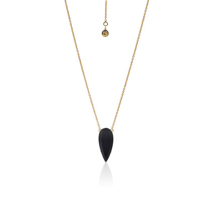 Silk&Steel Jewellery Diva Necklace - Sterling Silver Gold + Black Onyx From Aria Collection