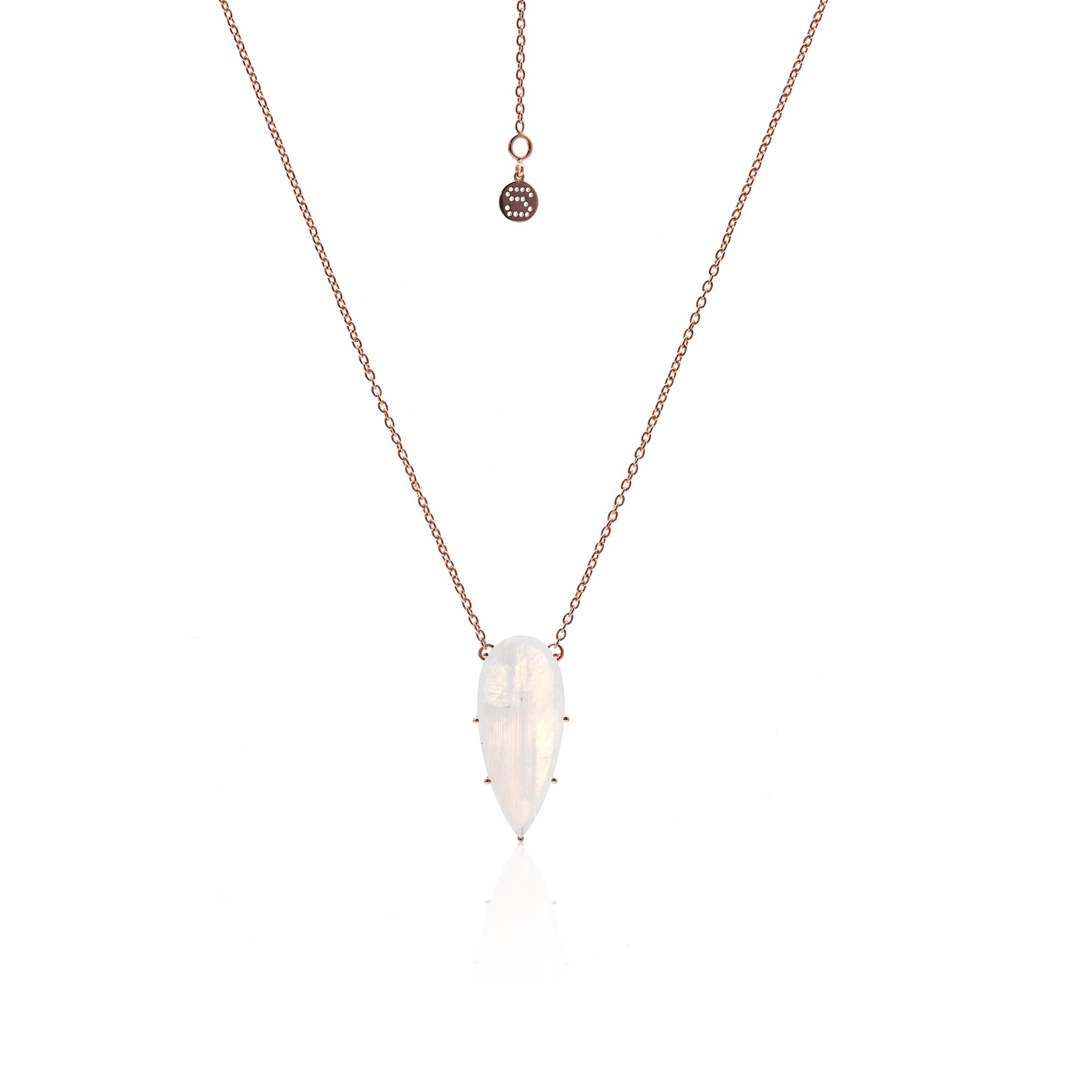 Silk&Steel Jewellery Diva Necklace - Sterling Silver Rose Gold + Moonstone From Aria Collection