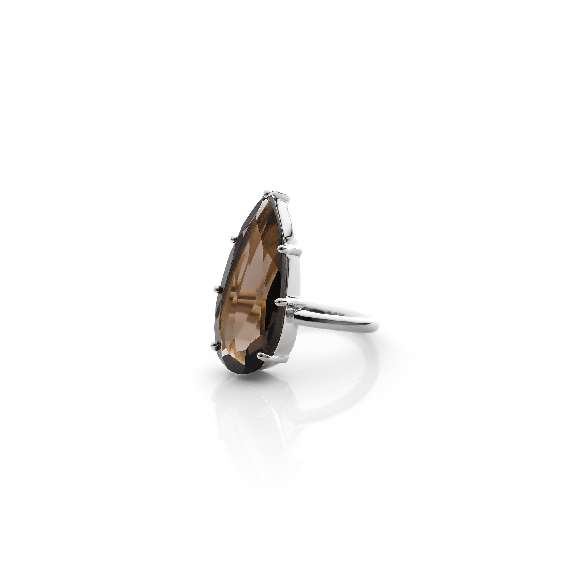 Silk&Steel Jewellery Smokey Quartz and Silver Diva Ring From Aria Collection