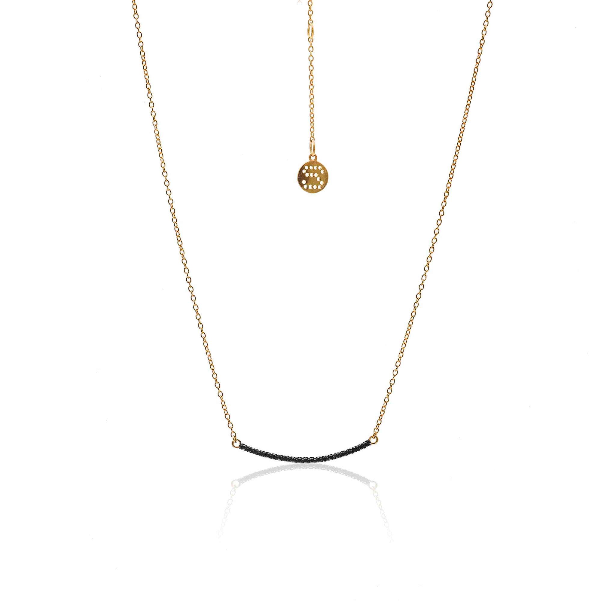 Silk & Steel Jewellery Midnight Black Diamond Gold Necklace