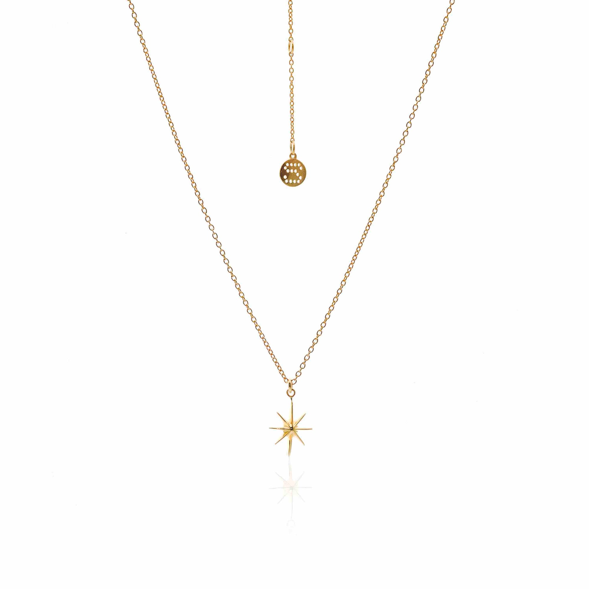 Silk & Steel Jewellery North Star Gold Necklace