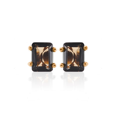 Silk&Steel Jewellery Prima Donna Earrings Smokey Quartz and Gold From Aria Collection